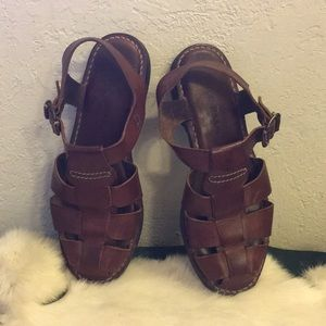 COLE HAAN Ladies Leather Brown Sandal Pre-Loved